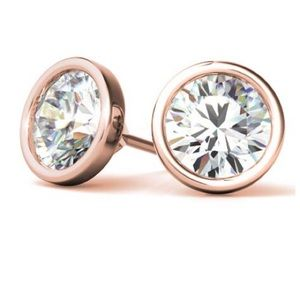 Moissanite bezel stud earrings rose gold 1 ct 14k